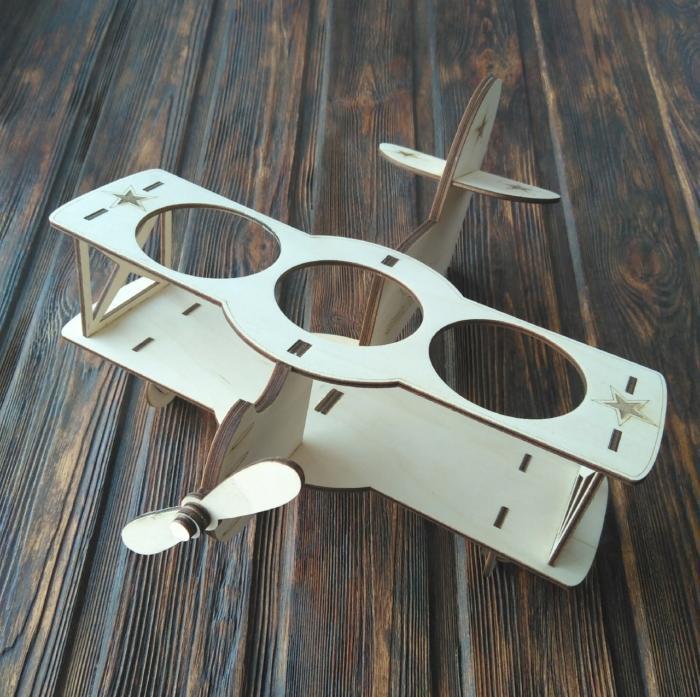 Laser Cut Biplane Wooden Beer Holder Free CDR Vectors Art