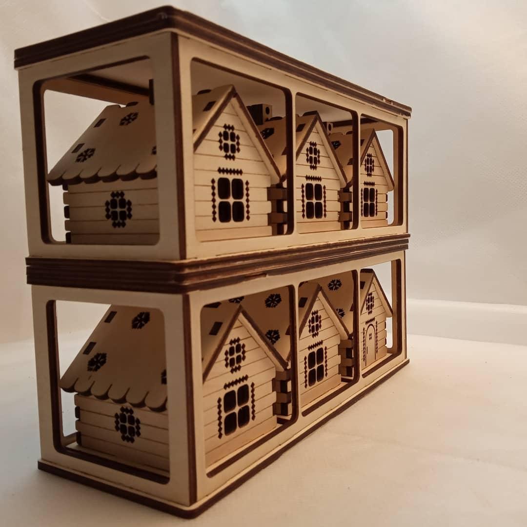 Laser Cut Wooden Houses Ornaments 3mm Free CDR Vectors Art