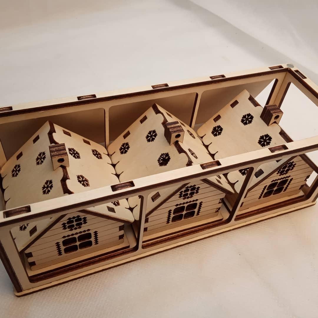 Wooden Houses Ornaments 3mm Free CDR Vectors Art