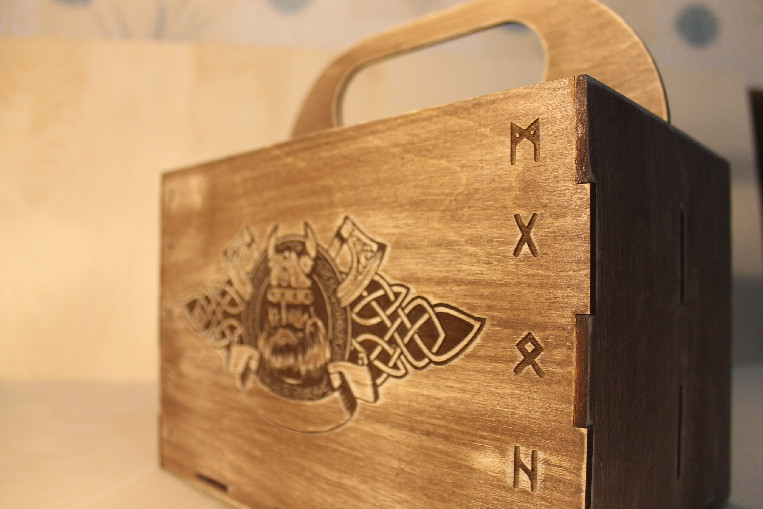 Laser Cut Viking Box Beer Gift Box Beer Caddy Free CDR Vectors Art