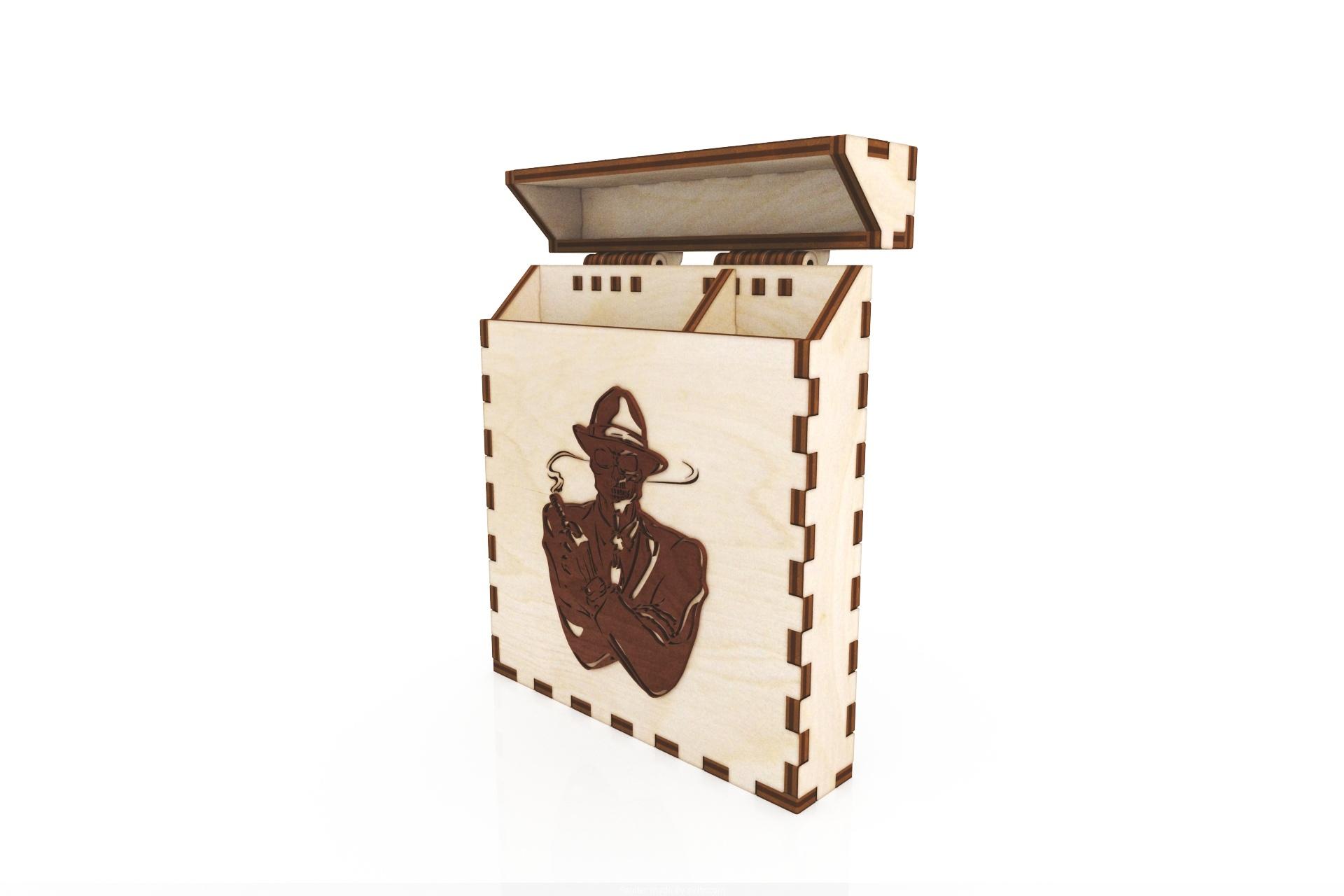 Laser Cut Wooden Cigarette Box 100mm Free CDR Vectors Art