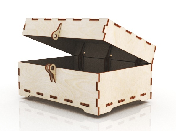 Laser Cut Wooden Jewelry Box With Lid And Lock Free CDR Vectors Art
