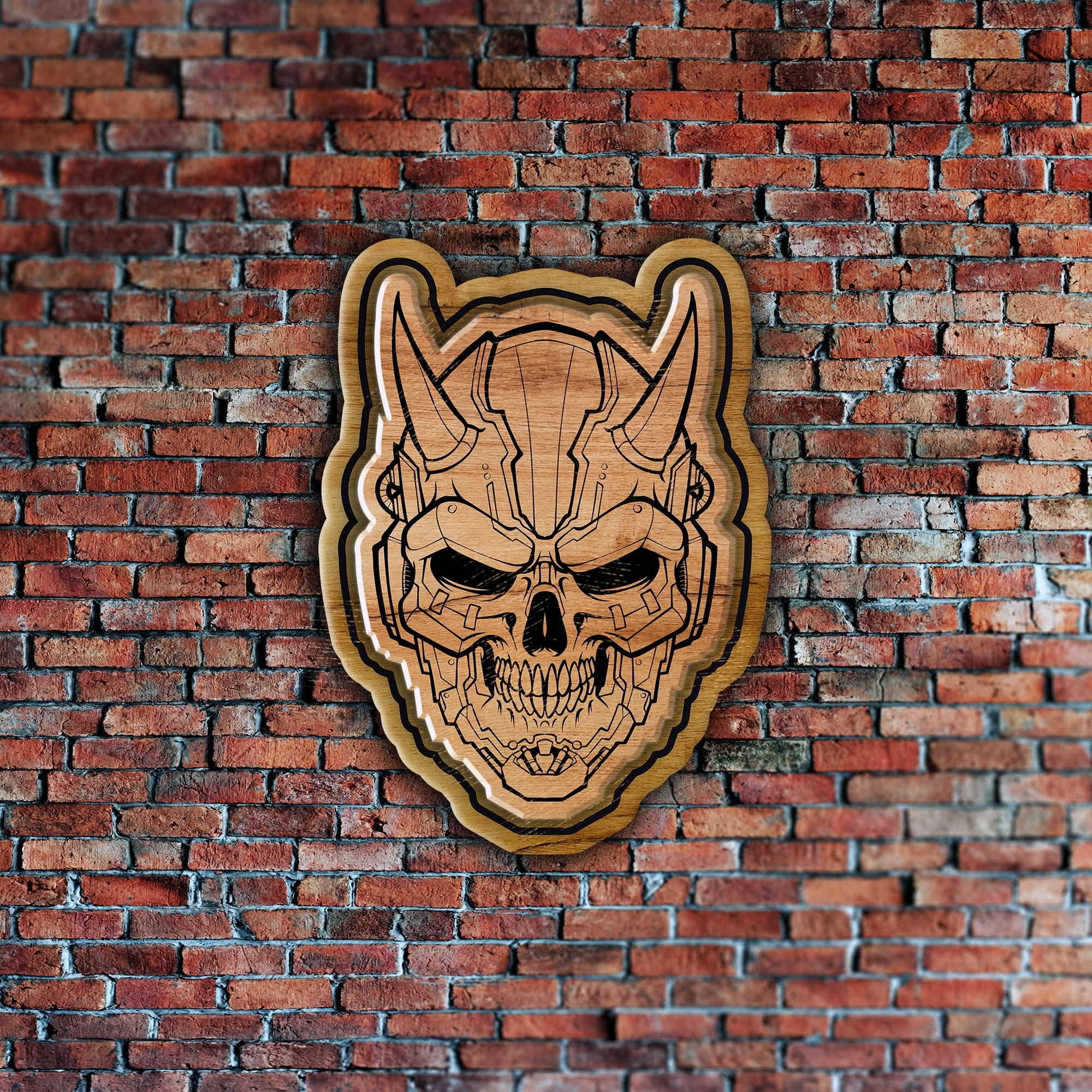 Laser Cut Engraved Skull Badge Coaster Wall Decor Free CDR Vectors Art