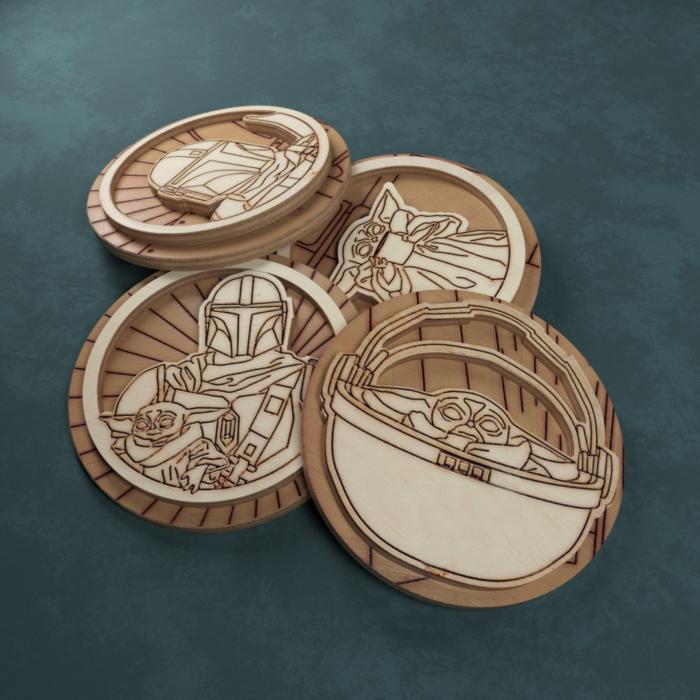 Laser Cut Engraved Wooden Mandalorian Inspired Badges Free CDR Vectors Art