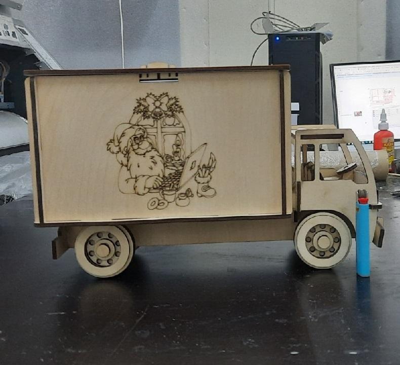 Laser Cut Delivery Van Shaped Gift Box Free CDR Vectors Art