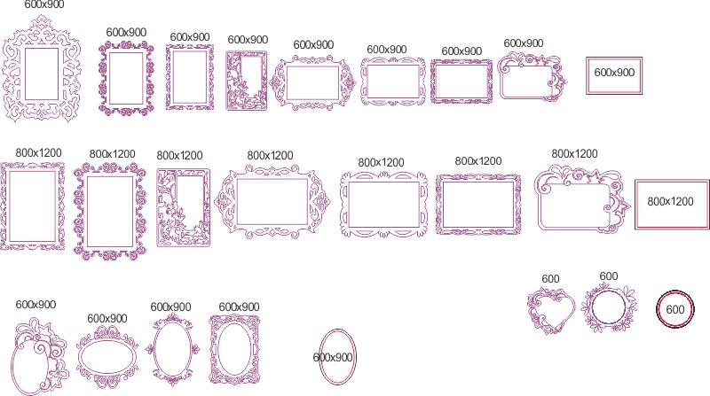 Elegant Mirror Frame Set Free DXF File