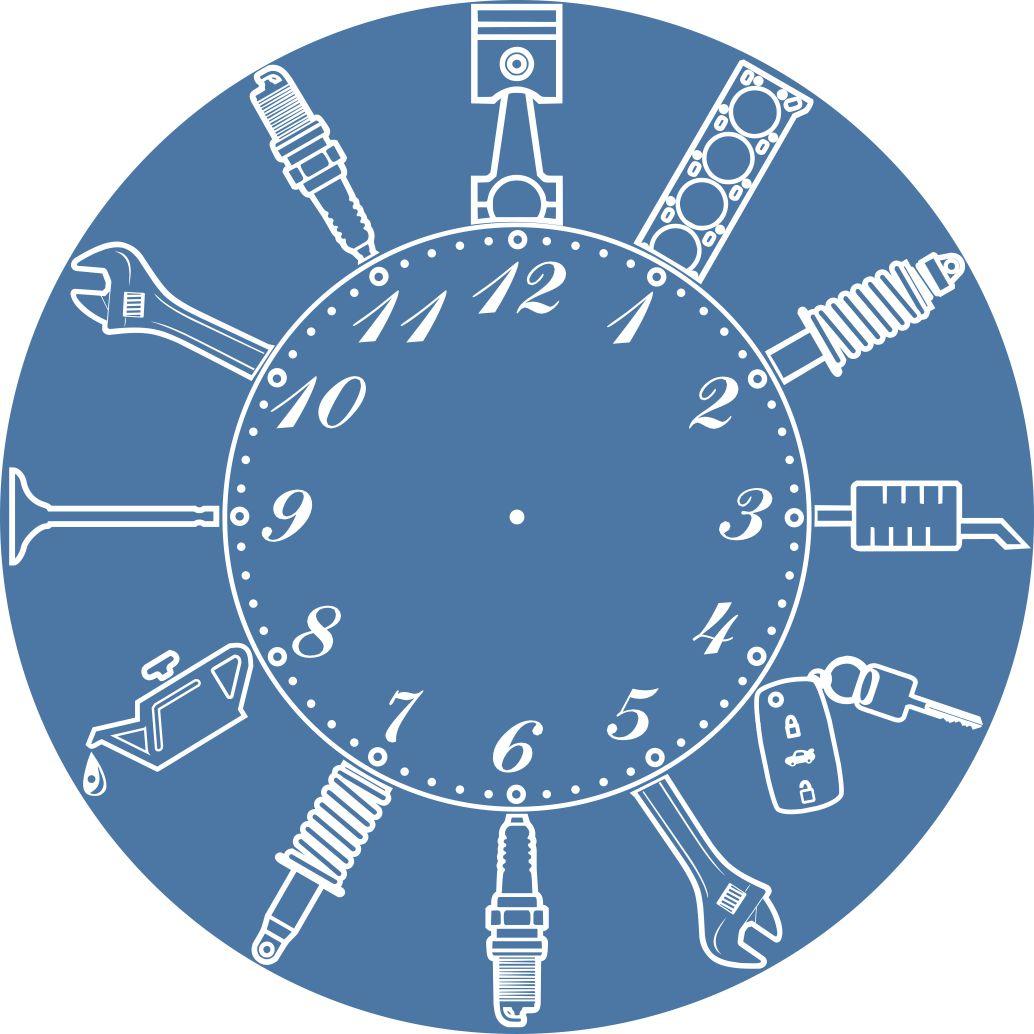 Laser Cut Car Service Workshop Repair Garage Owner Wall Clock Free CDR Vectors Art