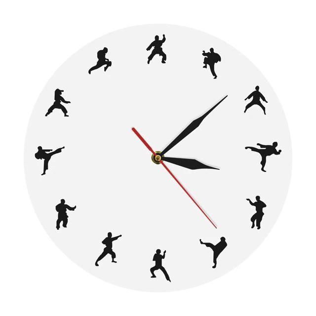 Laser Cut Karate Wall Clock Martial Arts Fighting Sports Kung Fu Wall Decor Free CDR Vectors Art
