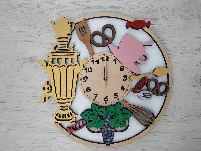 Laser Cut Samovar Wooden Wall Clock Free CDR Vectors Art