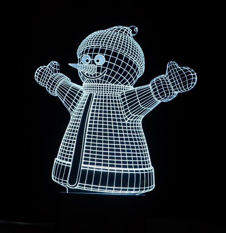 Laser Cut Snowman Decor 3d Acrylic Lamp Free CDR Vectors Art