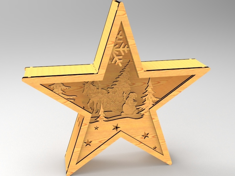 Laser Cut Star Light Decoration Festive Lamp Free CDR Vectors Art