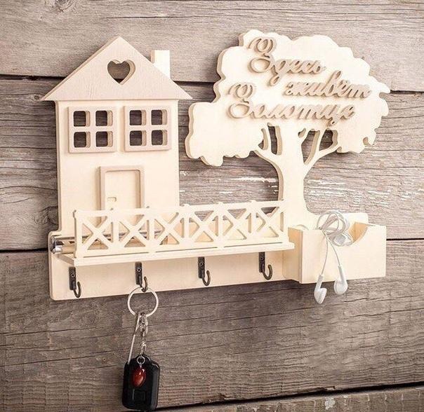 Laser Cut Wooden House Shape Key Hanger Shelf Wall Mounted Template Free CDR Vectors Art