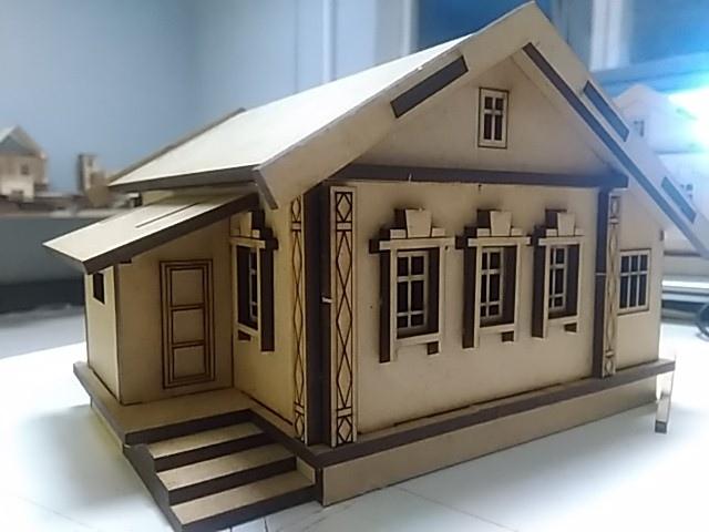 Laser Cut Wood Village House Free CDR Vectors Art