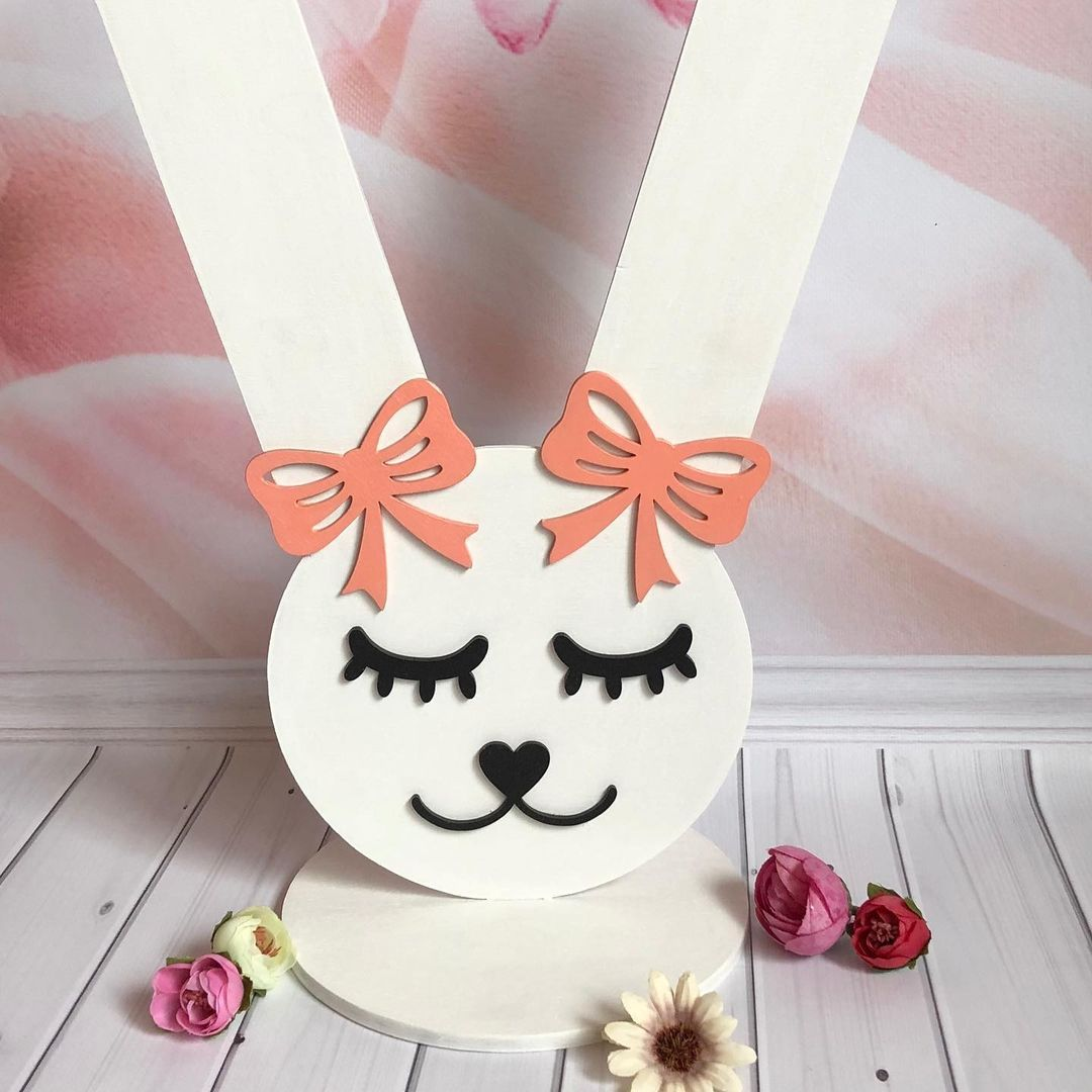 Laser Cut Bunny Rubber Bands And Hairpins Stand Free CDR Vectors Art