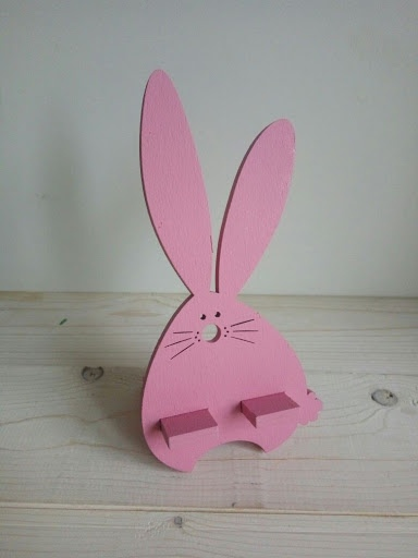 Laser Cut Wooden Bunny Mobile Phone Holder Stand Free CDR Vectors Art