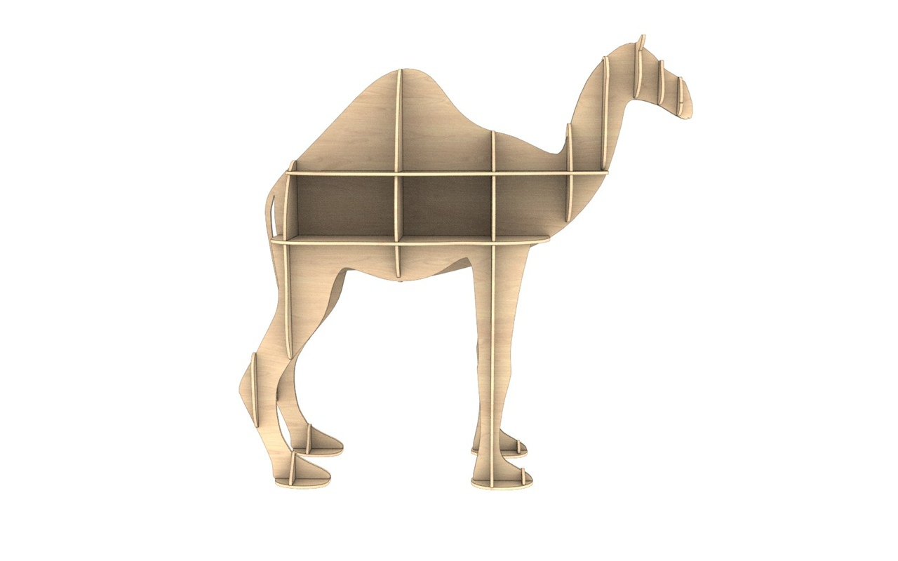 Laser Cut Wooden Camel Shelf Modern Storage Shelf Free CDR Vectors Art
