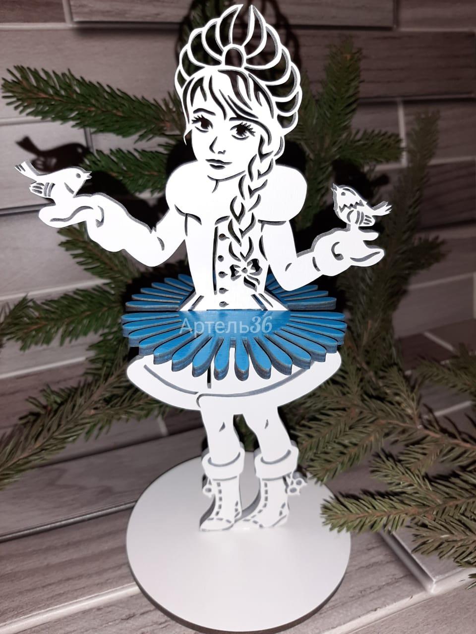 Decorative Wooden Tabletop Snow Maiden Napkin Holder Free CDR Vectors Art