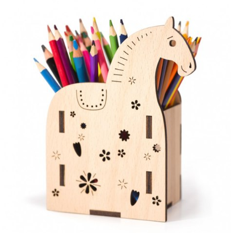 Laser Cut Horse Pen Holder Plywood Template Free CDR Vectors Art