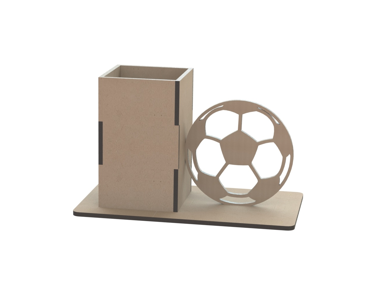 Laser Cut Pencil Holder With Ball Drawing Free CDR Vectors Art