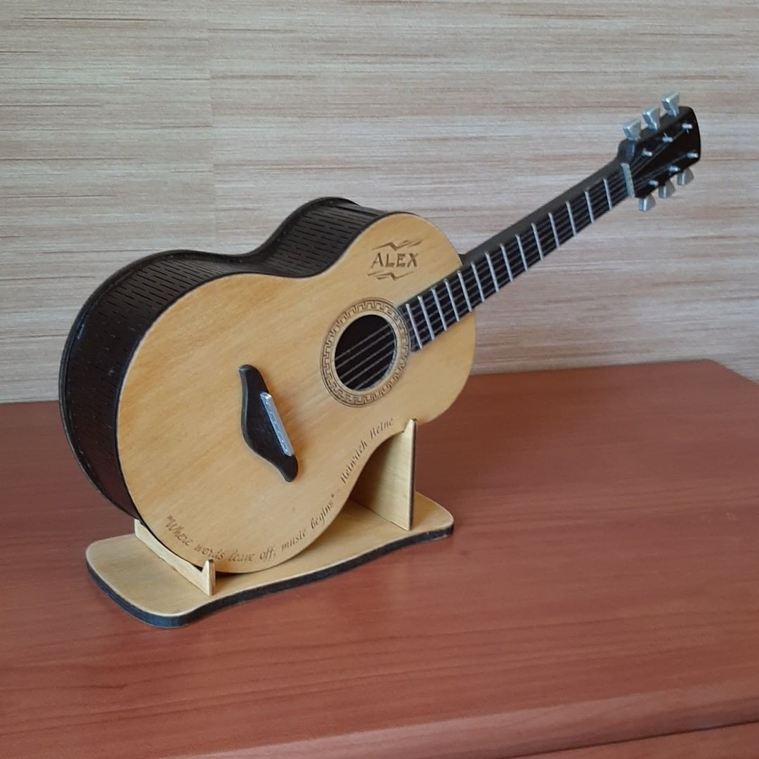 Laser Cut Guitar Piggy Bank Kids Coin Bank Free CDR Vectors Art