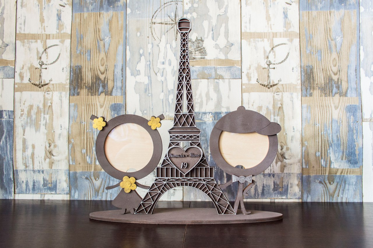 Laser Cut Eiffel Tower Photo Frame Free CDR Vectors Art