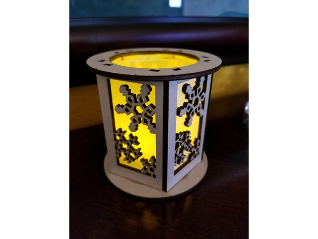 Laser Cut Snowflake Lantern Lamp Night Light Free DXF File