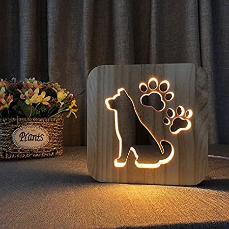 Lasercut 3d Dog Wooden Night Light Lamp Free DXF File