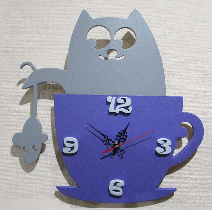 Cats And Mice Children Wall Clock Laser Cut Free CDR Vectors Art