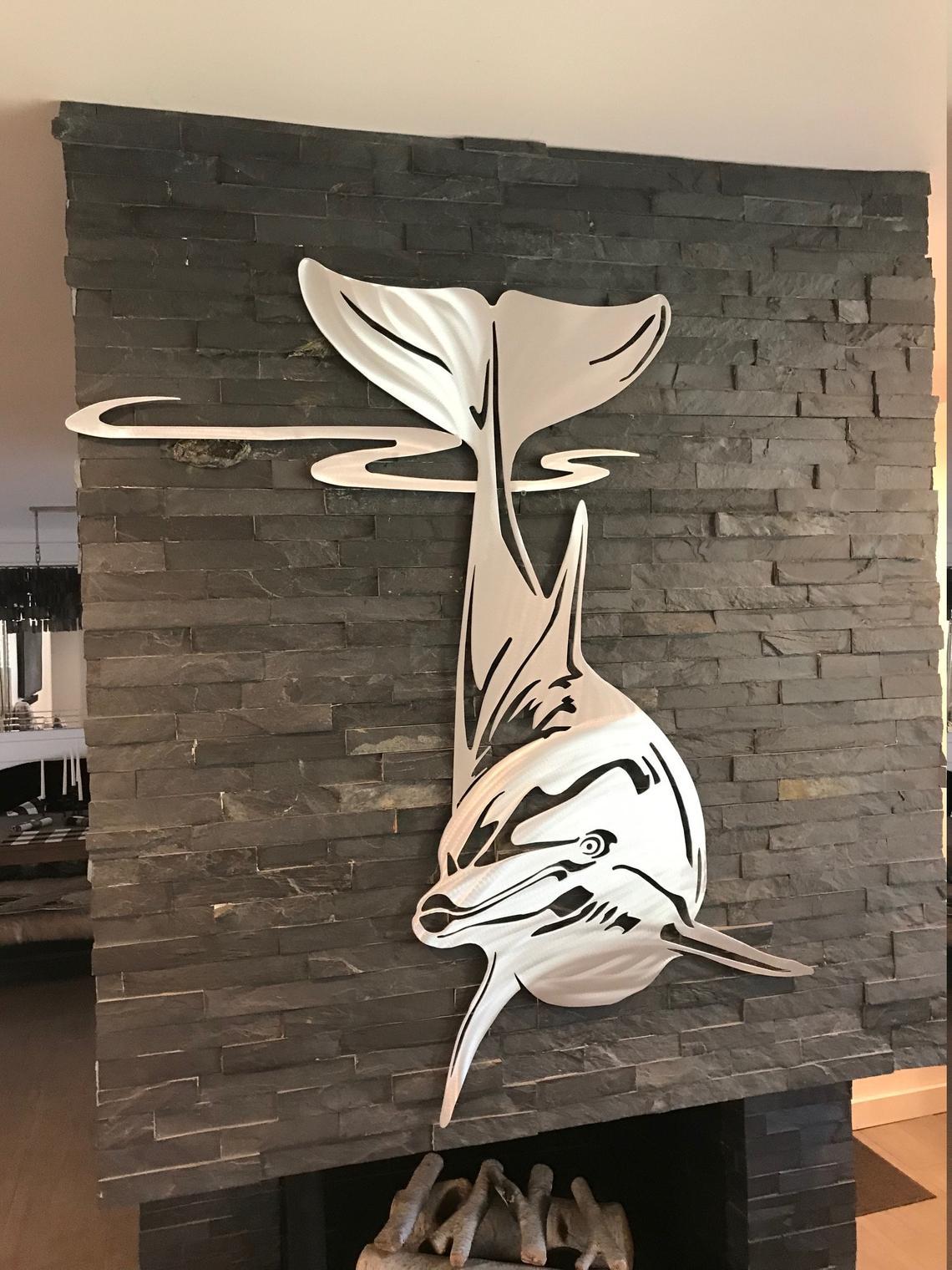 Laser Cut Dolphin Wall Decor Free CDR Vectors Art