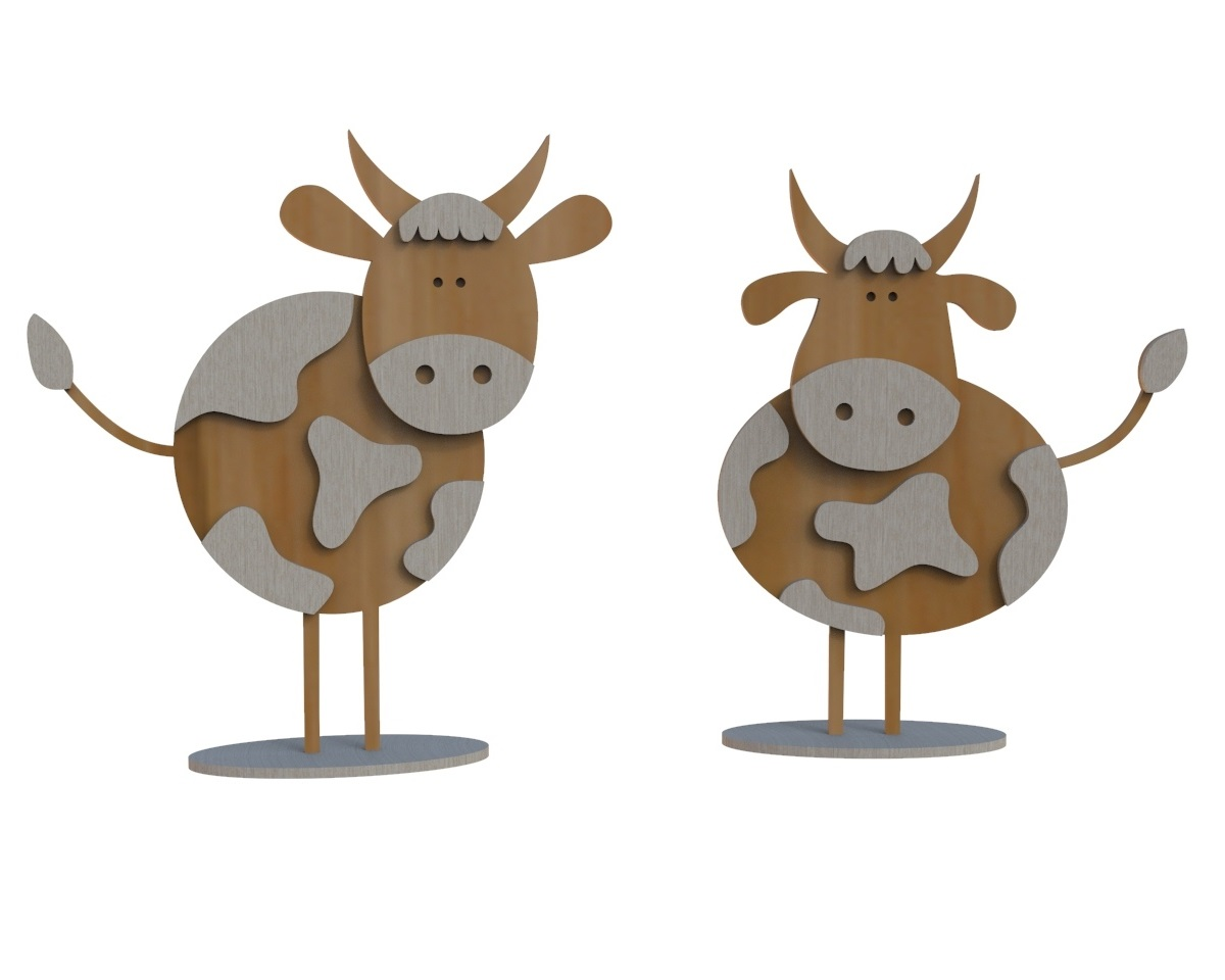 Laser Cut Wooden Bull Figurine Kids Toy 4mm Free CDR Vectors Art