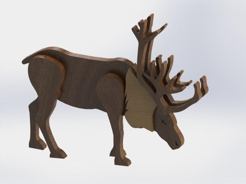 Laser Cut Wooden Reindeer Free CDR Vectors Art