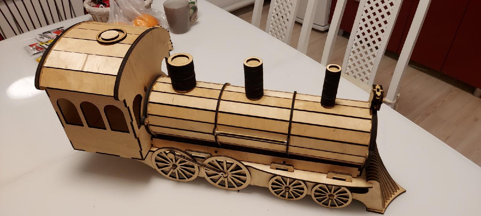 Laser Cut Locomotive Or Train Engine Wine Bottle Holder Gift Box Free DXF File