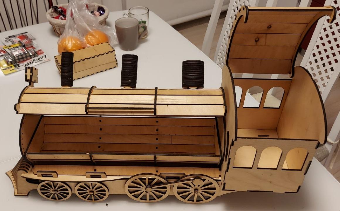 Locomotive Or Train Engine Wine Bottle Holder Gift Box Free DXF File