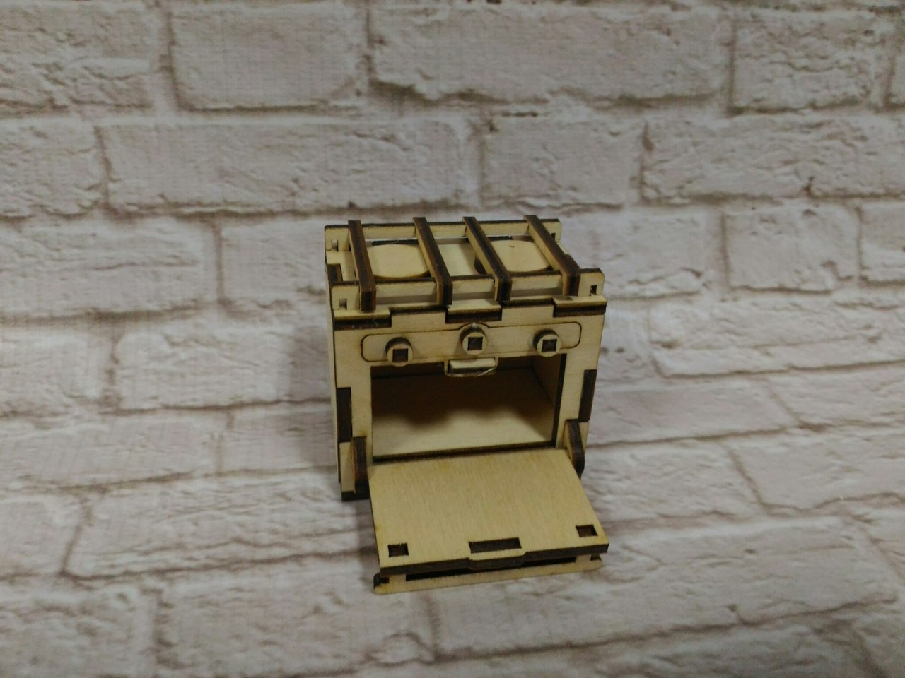 Laser Cut Dollhouse Kitchen Oven Stove Miniature Dollhouse Furniture 3mm Free CDR Vectors Art
