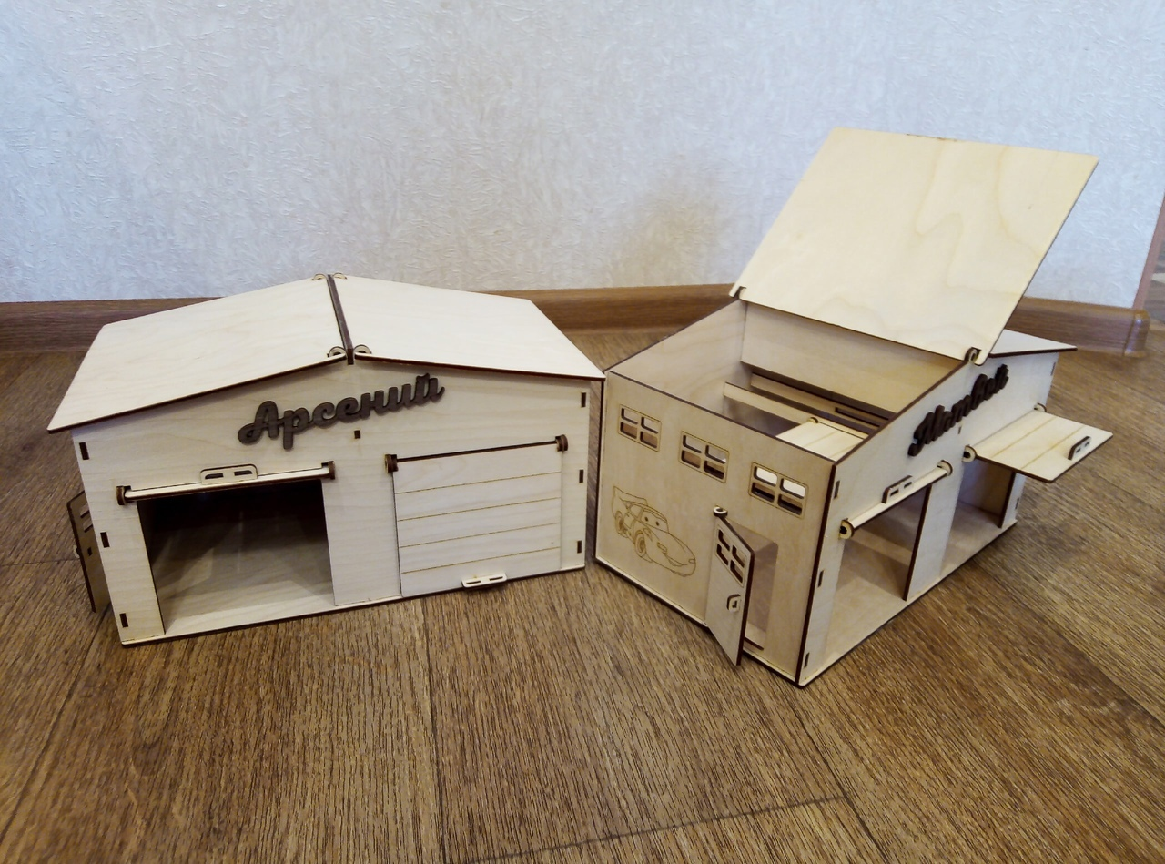Laser Cut Garage For Toy Cars Plywood 3mm Free CDR Vectors Art