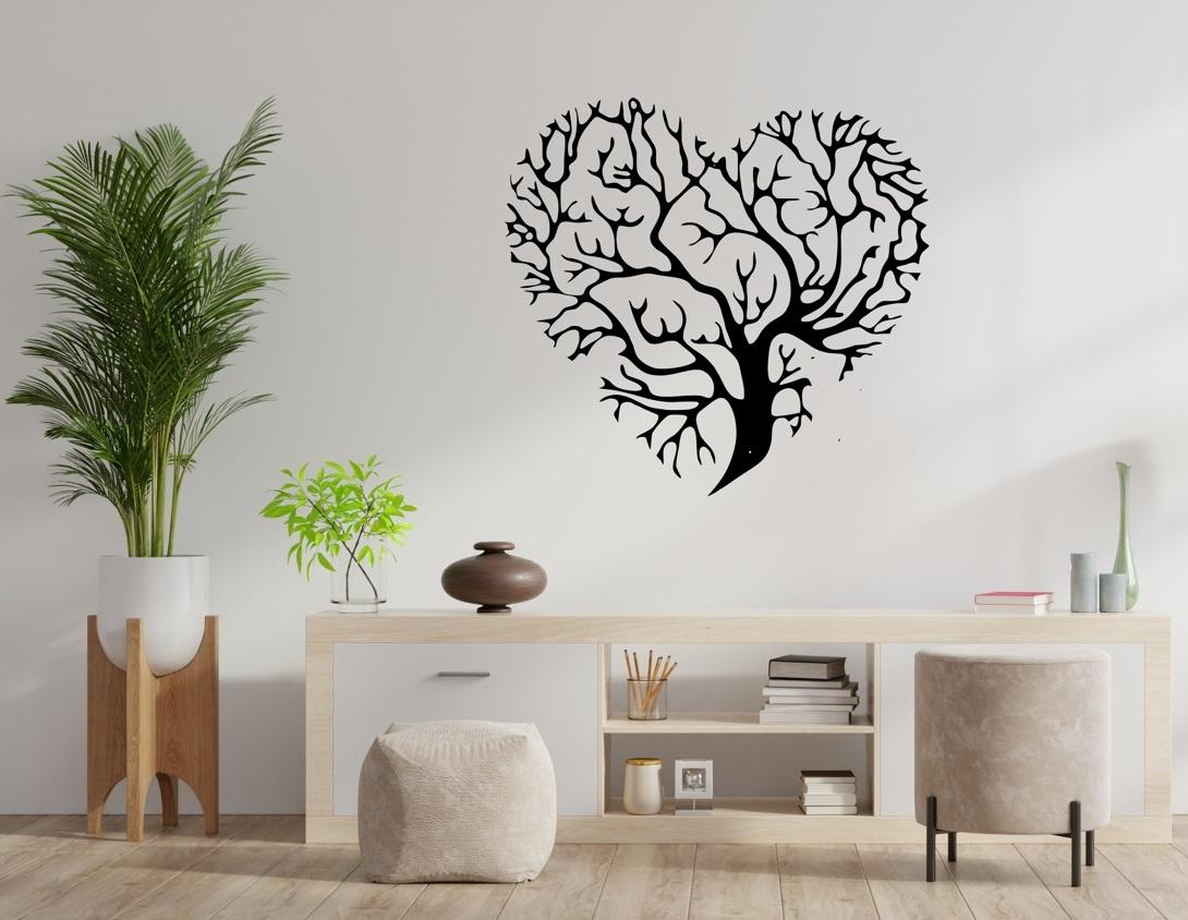 Laser Cut Heart Shaped Tree Of Life Wall Plaque Decor Free CDR Vectors Art