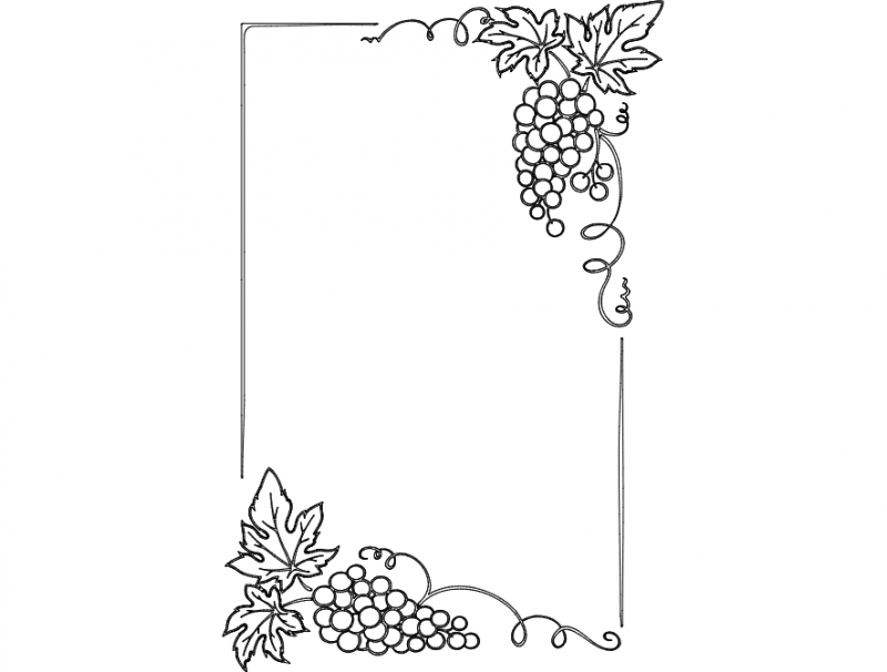 Laser Cut Grape Patterned Photo Frame Free DXF File