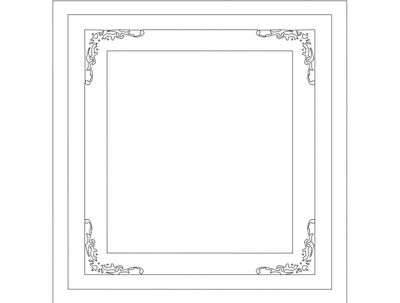 Laser Cut Patterned Simple Photo Frame Free DXF File