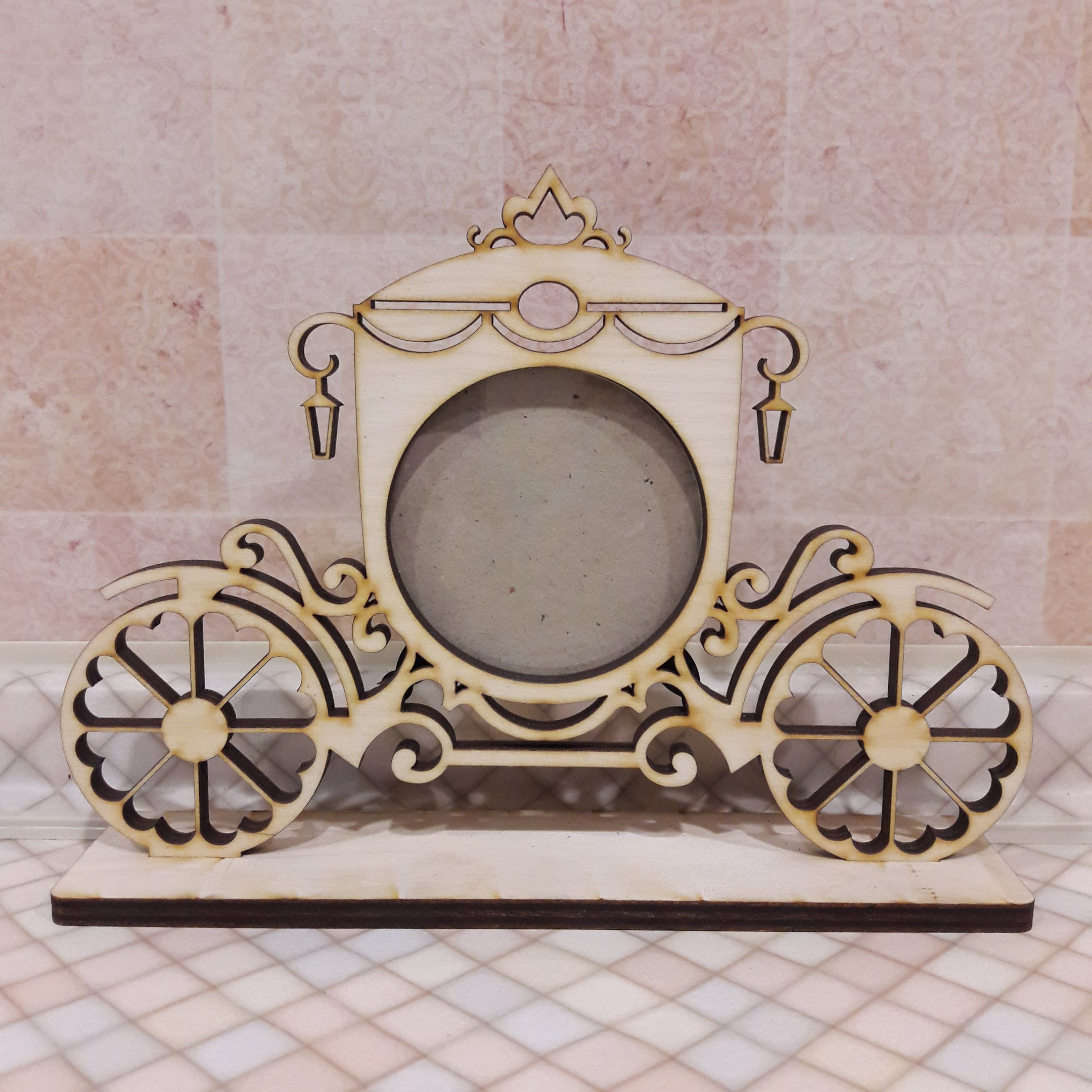 Laser Cut Candy Cart Patterned Photo Frame Free CDR Vectors Art