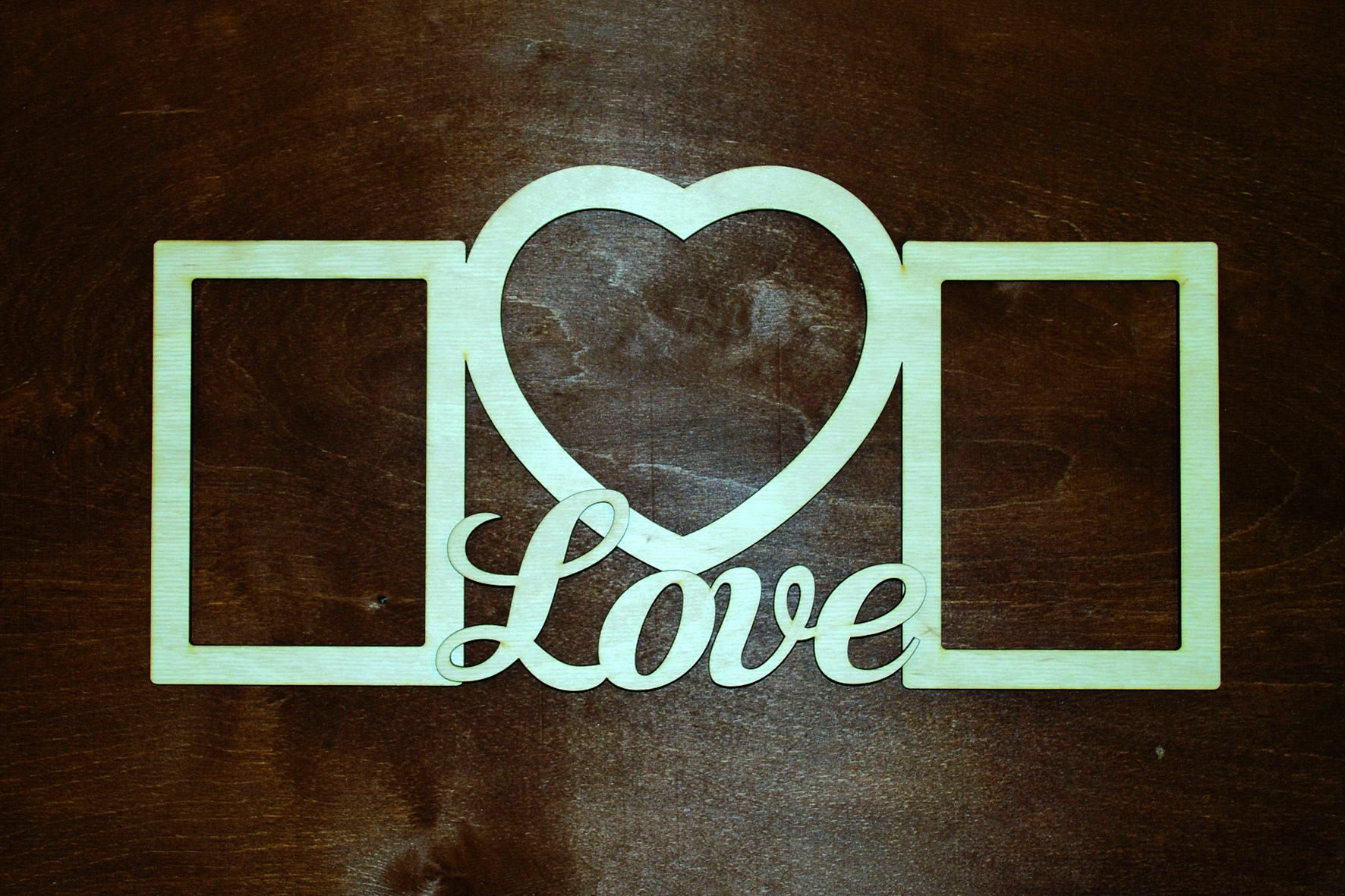 Laser Cut Patterned Love Photo Frame Free CDR Vectors Art