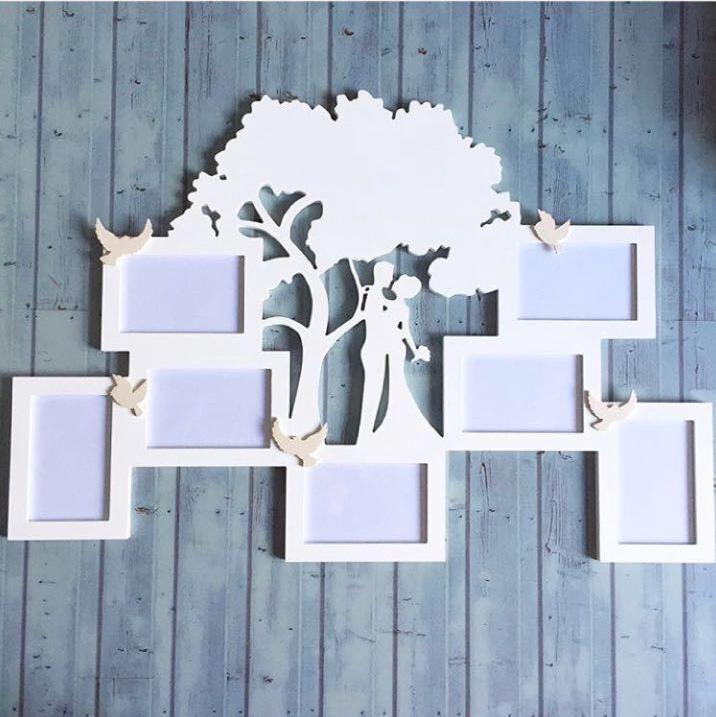 Laser Cut Patterned Photo Frame Family Tree Free CDR Vectors Art