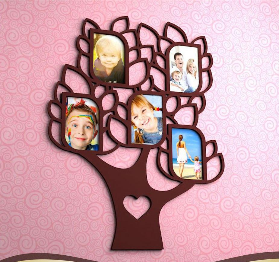 Laser Cut Patterned Photo Frame Tree Design Free CDR Vectors Art
