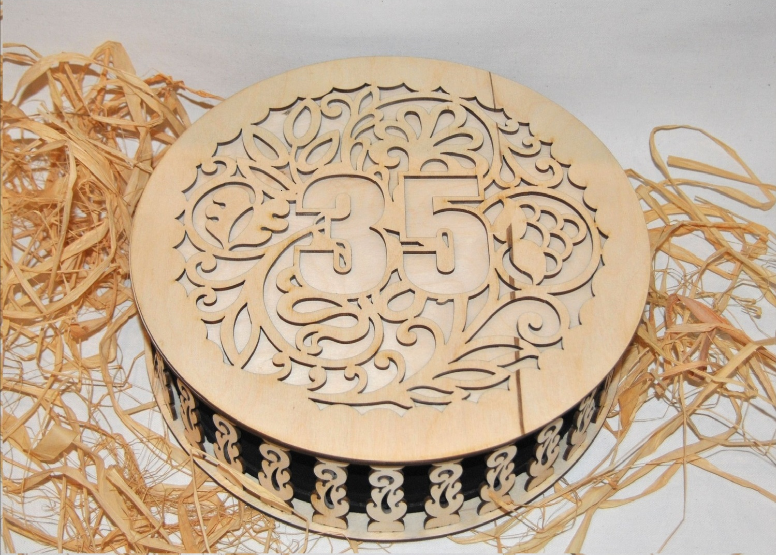 Laser Cut Pattern Covered Box Round Free CDR Vectors Art