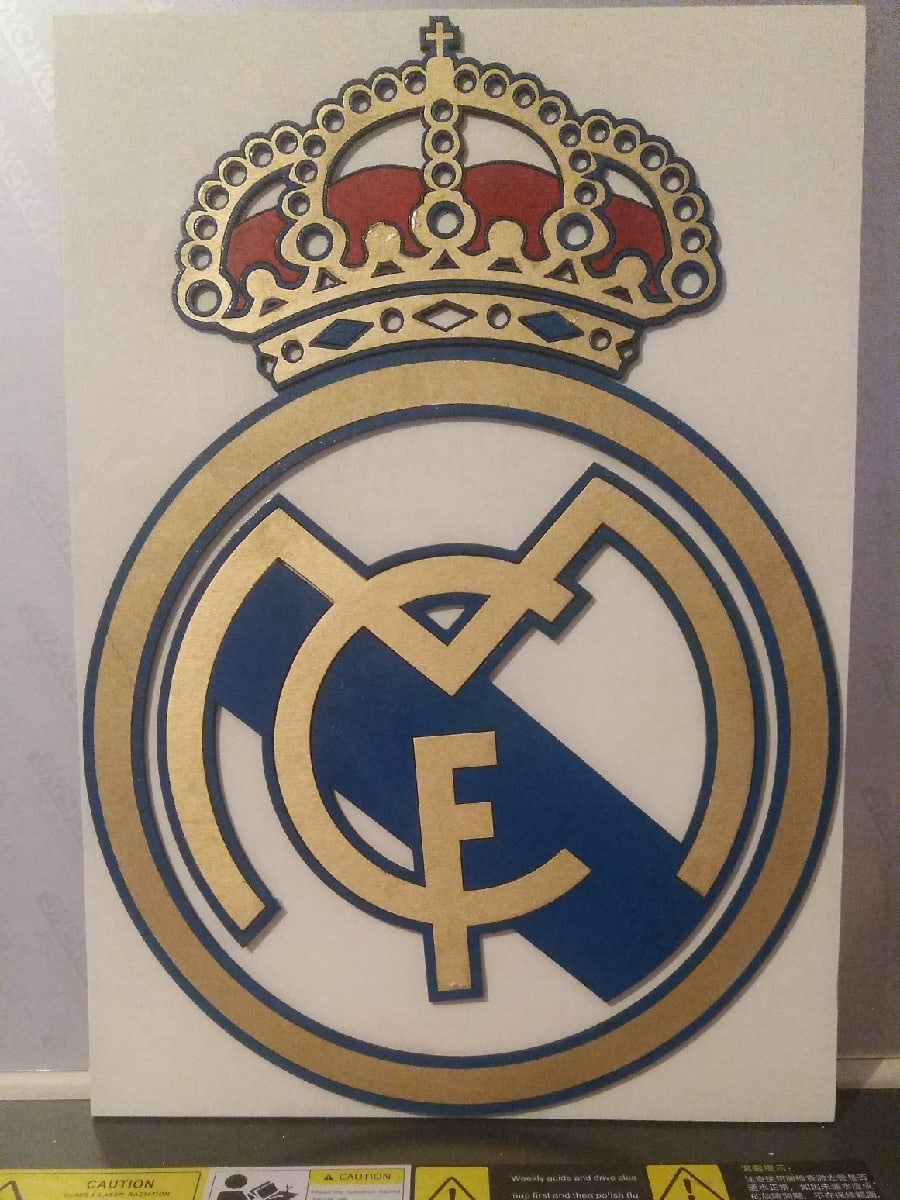 Real Madrid Logo Wooden Sports Logo Free CDR Vectors Art