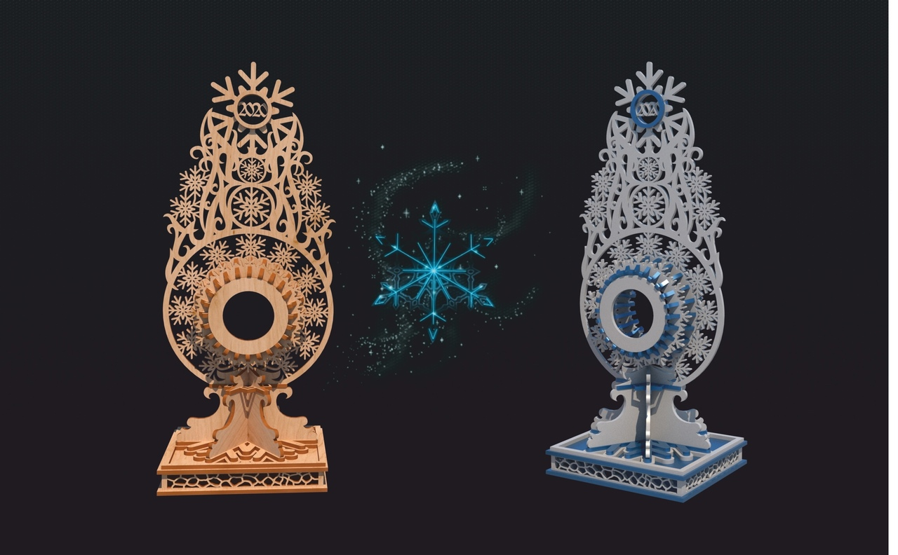 Laser Cut Layout Of Stand For Snowflake Watch Free CDR Vectors Art