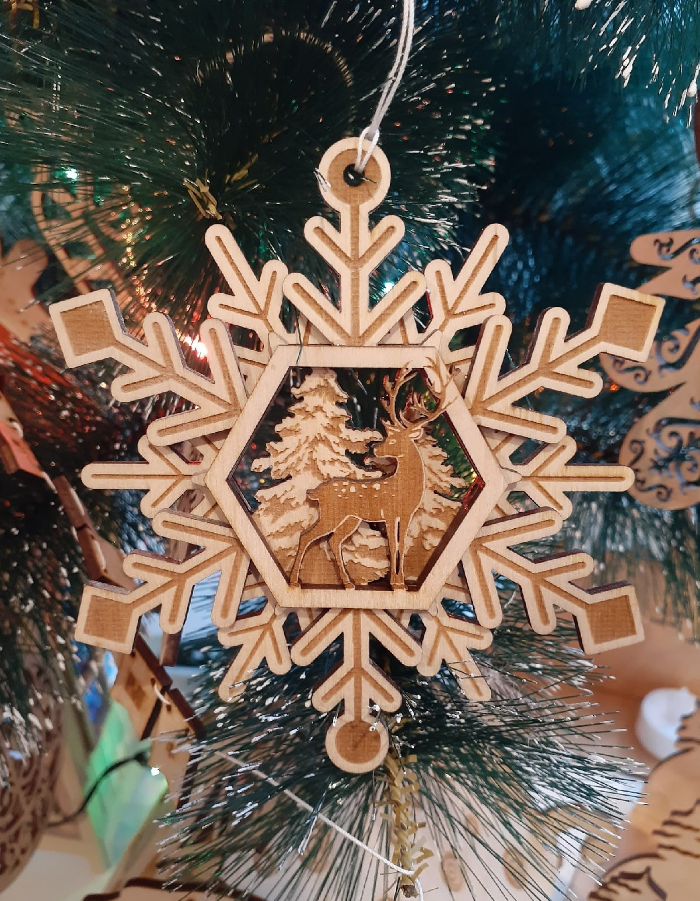 Laser Cut Wooden Deer Snowflakes Toys Free CDR Vectors Art