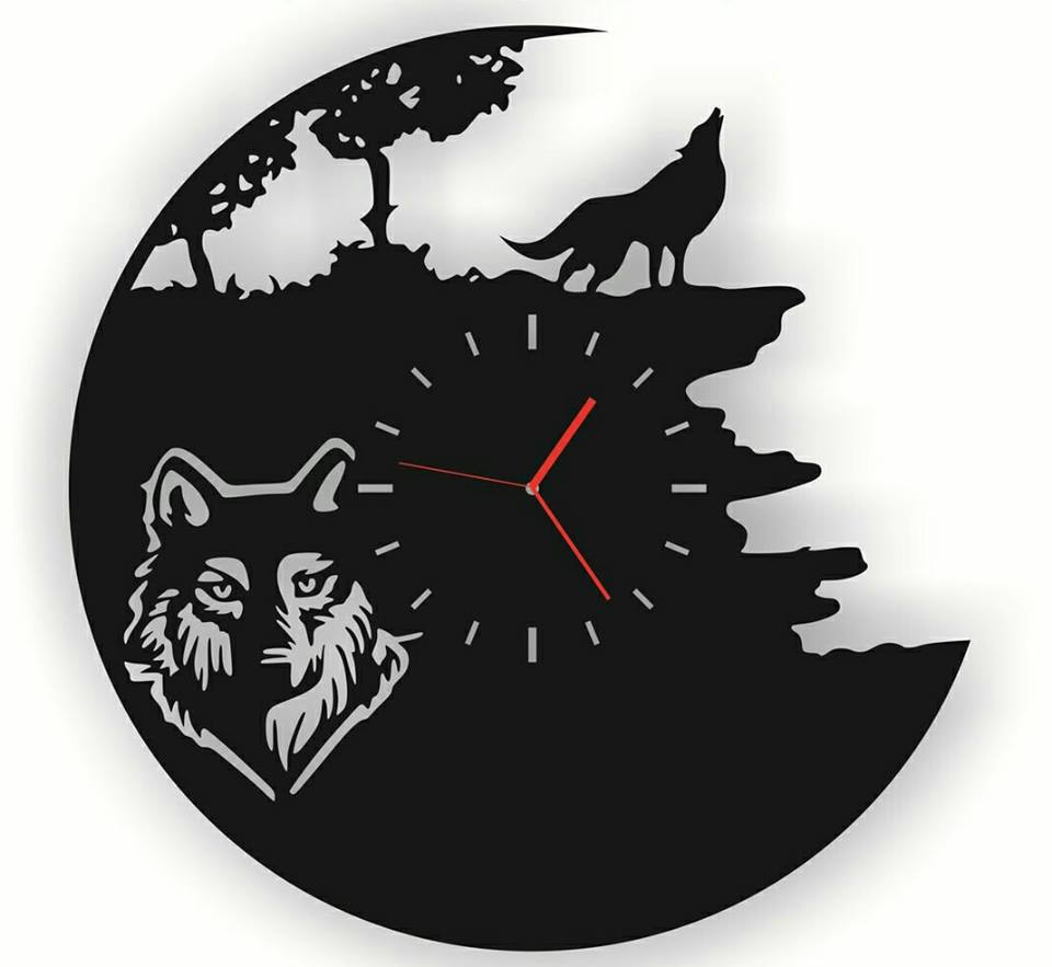 Wall Watch Wolf Free DXF File