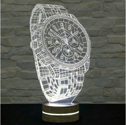 Hand Watch Illusion Lamp Engraving Free CDR Vectors Art