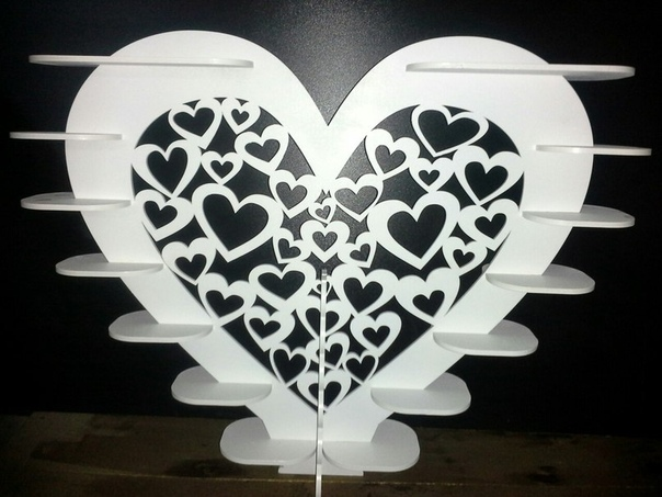 Laser Cut Heart Shape Stand For Sweets Layout Free CDR Vectors Art