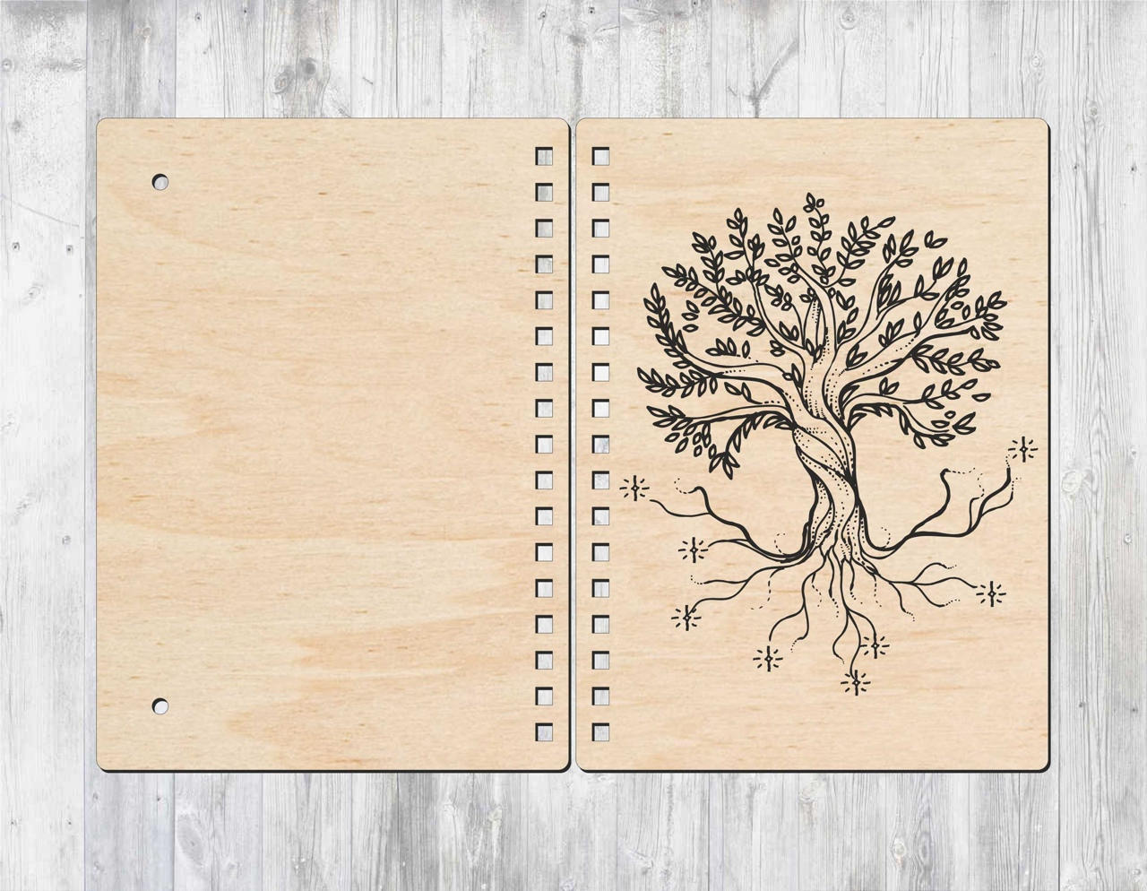 Laser Cut Cover For Notebook With Wood Layout Free CDR Vectors Art
